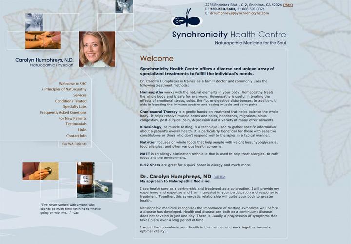 Synchronicity Health Centre Website