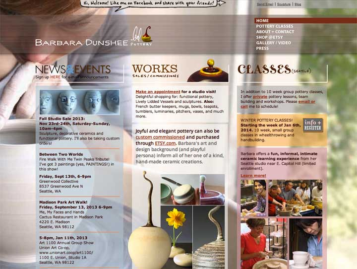 Barbara Dunshee Pottery Website